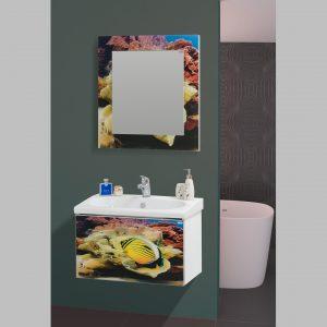 Шкаф за баня PVC Ана 72 Принт стъкло
