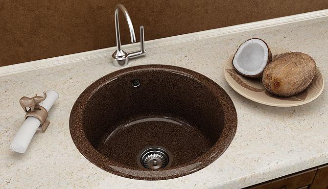 Кухненска мивка 206 полимермрамор Ф 49 см.  дълбочина 21 см.