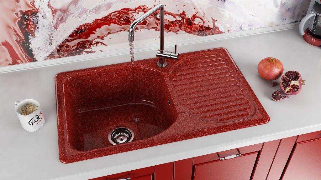 Кухненска мивка 215 полимермрамор 80х49 см. дълбочина 21 см. ляв или десен плот