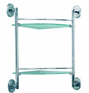 Стъклена лавица двойна ъглова Ариел 30902