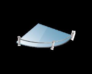 Стъклена полица с борд ъглова 20х20 см. матирана 0622-99